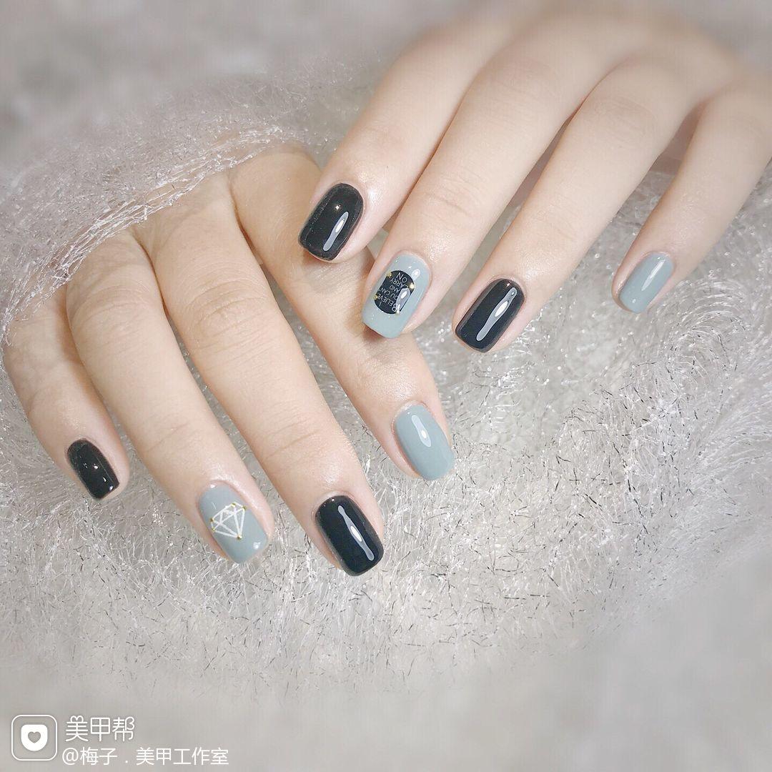 黑色灰色方圆形贴纸美甲图片