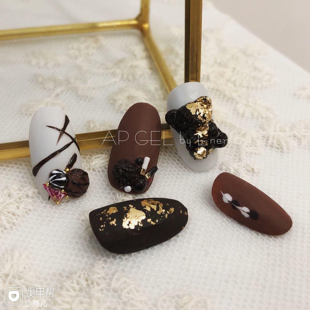 棕色圆形手绘巧克力金箔金属饰品磨砂美甲图片