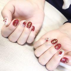 酒红色圆形钻新娘日式美甲图片