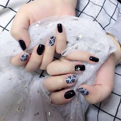灰色黑色方圆形豹纹日式美甲图片
