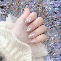 尖形贝壳片金箔钻日式水波纹银色很爱的一款美甲图片