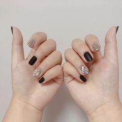黑色方形钻日式银色水波纹美甲图片