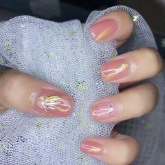 金箔贝壳片猫眼方圆形粉色美甲图片