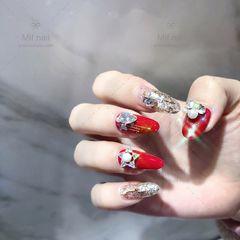 圆形红色银色钻新娘日式美甲图片