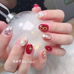 红色圆形日式贝壳片钻珍珠银色水波纹美甲图片