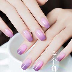 方圆形紫色渐变简约美甲图片