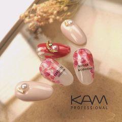 红色酒红色圆形手绘花朵新娘珍珠美甲图片