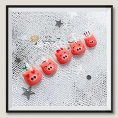 手绘可爱圆形粉色小猪自创的一组~原版来喽😘美甲图片