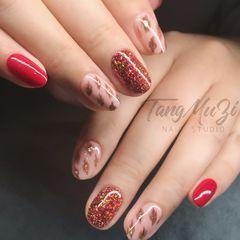 红色圆形豹纹手绘美甲图片