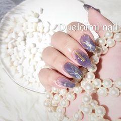 圆形手绘日式晕染紫色白色美甲图片