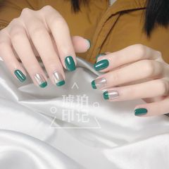 绿色方圆形法式日式美甲图片