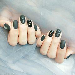 黑色磨砂方圆形月亮金属饰品美甲图片