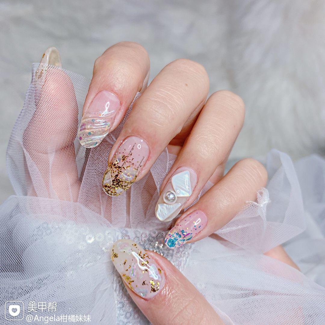圆形日式贝壳片金箔渐变亮片水波纹珍珠镜面美甲图片