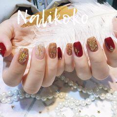 方圆形红色金色贝壳片金箔金属饰品新娘美甲图片