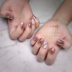 圆形手绘钻日式短的指甲一样可以美美哒美甲图片