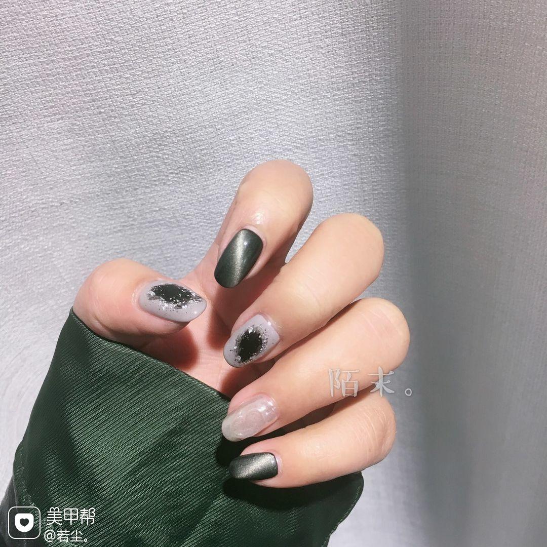 绿色猫眼日式方圆形美甲图片