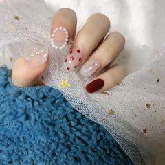 焦糖色红色圆形日式贝壳片波点珍珠美甲图片