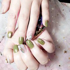 方圆形日式钻绿色美甲图片