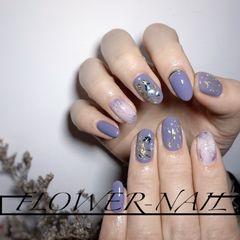 圆形贝壳片金箔晕染日式紫色美甲图片