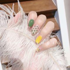 方圆形日式黄色绿色波点跳色春天早春新款#Yuzu柚子ザボン日式美甲美睫#美甲图片