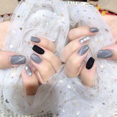 灰色方形钻贝壳片日式上班族猫眼美甲图片