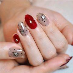酒红色红色波点星星圆形手绘ins分享美甲图片
