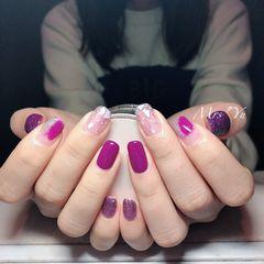 方圆形紫色银色晕染贝壳片美甲图片