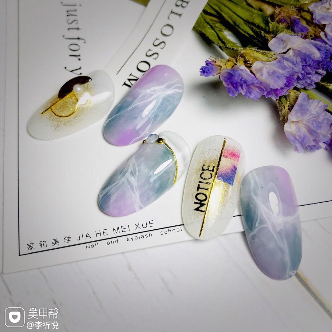 蓝色简约日式晕染闪粉贝壳片镶嵌贴纸紫色美甲图片