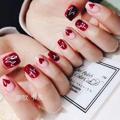 红色方圆形手绘日式粉色心形美甲图片
