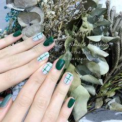 绿色灰色方圆形格纹日式手绘日系格纹 最近超收欢迎美甲图片