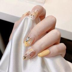 圆形日式钻晕染黄色皮肤白的  效果更佳美甲图片