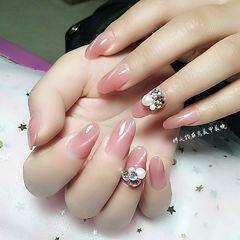 圆形简约粉色猫眼钻珍珠美甲图片
