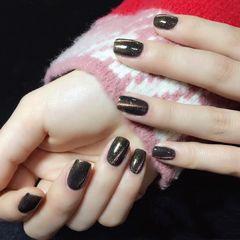 黑色方圆形猫眼简约美甲图片