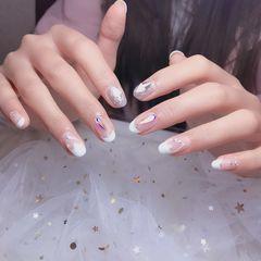 圆形新娘法式钻简约白色心形美甲图片