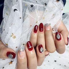圆形红色银色钻新娘美甲图片