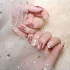方圆形粉色钻猫眼贝壳片美甲图片