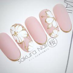 圆形磨砂手绘日式新娘粉色花朵美甲图片
