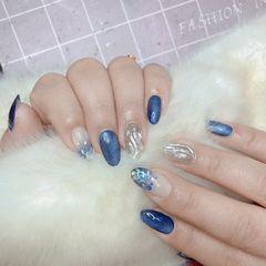 圆形蓝色银色水波纹渐变亮片猫眼美甲图片