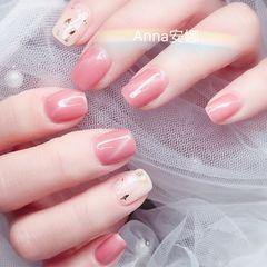 方圆形粉色猫眼金箔简约上班族美甲图片