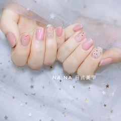 方圆形日式金箔猫眼春天粉色美甲图片