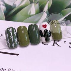 绿色方圆形法式简约仙人掌美甲图片