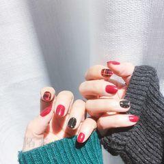 酒红色黑色格纹日式美甲图片