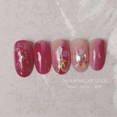 红色圆形贝壳片日式晕染粉色金箔菲比醬Phoebe の原創作品美甲图片