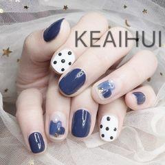 方形可爱韩式蓝色白色晕染波点美甲图片