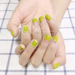 绿色方圆形法式波点美甲图片