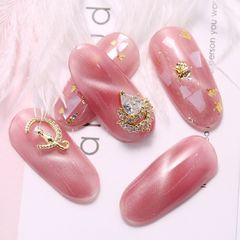 日式贝壳片猫眼金箔DIY美甲美甲图片