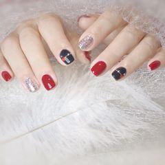 红色黑色方圆形银色美甲图片