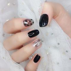 黑色方圆形波点水波纹魔镜粉丝袜甲美甲图片
