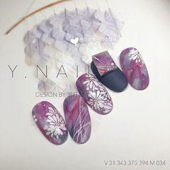圆形日式磨砂手绘晕染广州用了深紫蓝色系的配色作晕染 和平时的晕染不一样 这次希望做出油画的厚重感 而不是平时通透的感觉美甲图片