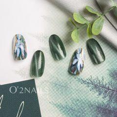 绿色方圆形猫眼脏仙风花卉美甲图片